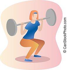 Fitness concept illustration of woman. Barbell Squat women . Flat design.