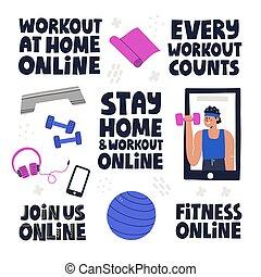 fitness, concept, illustrations., ensemble, elments, ligne, séance entraînement, lettrage, quotes., mignon, motivation