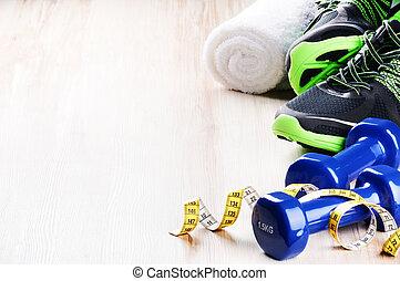 fitness, concept, met, dumbbells, en, gymschoen