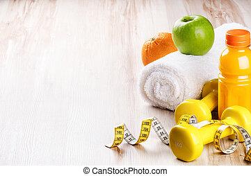 fitness, concept, met, dumbbells, en, verse vruchten