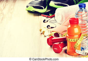 fitness, concept, met, dumbbells, vruchten, sap, en, sportkleding