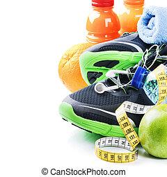 fitness, concept, met, sport schoenen, en, gezonde , voeding