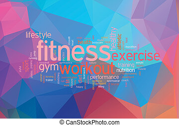Fitness concept word cloud  on a low poly background
