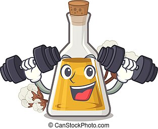 Fitness cottonseed oil in a mascot bottle vector ...