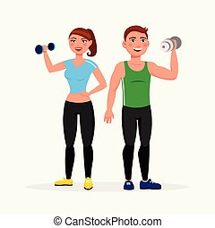 Fitness couple isolated on white background. Man and woman with dumbbells in good shape dressed in sportswear vector illustration in flat design style.