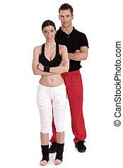 Fitness couple posing to camera