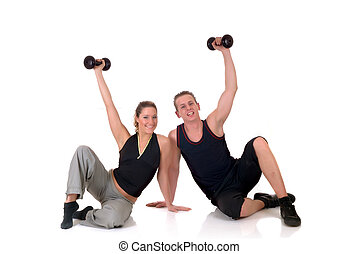 Fitness couple - Young couple, attractive female, handsome ...