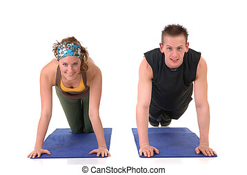 Fitness couple - Young couple, attractive female, handsome...