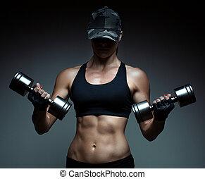 fitness, culturiste, femme, fort