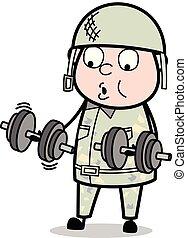 Fitness - Cute Army Man Cartoon Soldier Vector Illustration