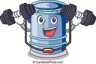 Fitness cylinder bucket Cartoon of for liquid