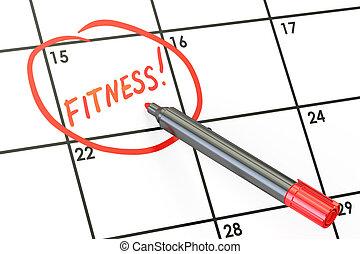 Fitness date on calendar concept, 3D rendering