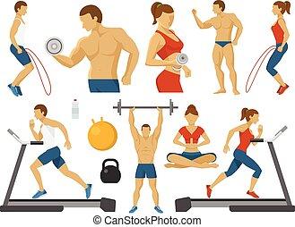 Fitness Decorative Flat Icons Set
