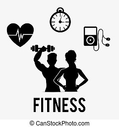 Fitness design. - Fitness design over white background, ...