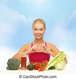 smiling woman with organic food