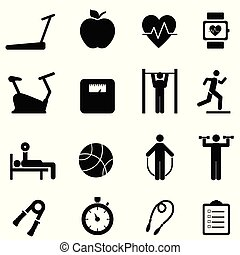 Fitness, diet and healthy life icons