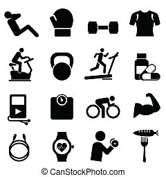 Fitness, diet and healthy living icon set