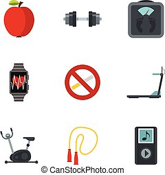 Fitness, diet and healthy living icons set
