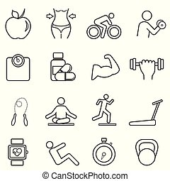 Fitness, diet line icons