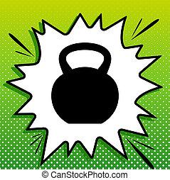 Fitness Dumbbell sign. Black Icon on white popart Splash at ...