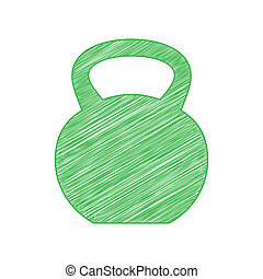 Fitness Dumbbell sign. Green scribble Icon with solid ...