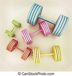 Fitness dumbbells. 3D illustration. Vintage style.
