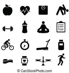fitness, en, dieet, iconen