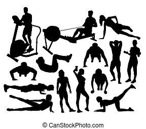 fitness en gym, activiteit, silhouettes