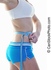 fitness, en, oefening, met, blonde, vrouw