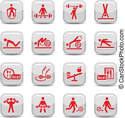 fitness, en, sportende, iconen