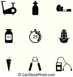 fitness, ensemble, icône