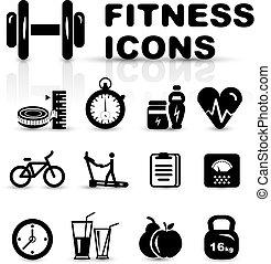 fitness, ensemble, noir, icône