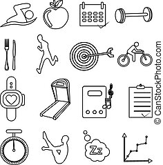 fitness, ensemble, santé, icônes