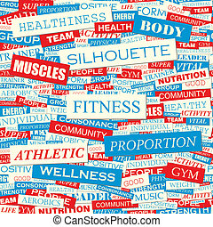 FITNESS. Seamless pattern. Concept related words in tag...