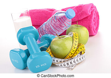 fitness equipment, diet food