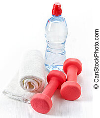 Fitness equipment dumbbells, towel