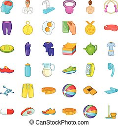 Fitness equipment icons set, cartoon style - Fitness...