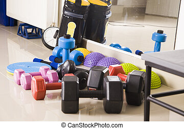 Fitness equipment in modern gym,fitness concept