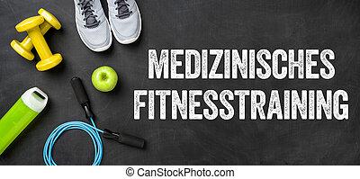 Fitness equipment on a dark background - Medical fitness training - Medizinisches Fitnesstraining (German)