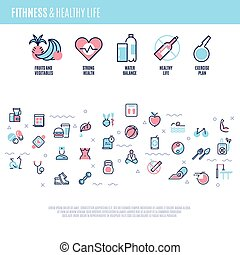 Fitness, equipment, sports training items, weight diet, healthy life vector concept in line style