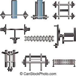 Fitness equipment top view set 1