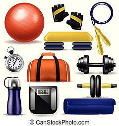 Fitness equipment vector bodybuilding dumpbell fitball and step board for sport exercises in gym illustration set of yoga mat sportive bottle and workout jump rope isolated on white background.