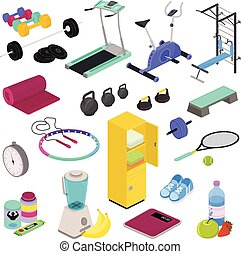 Fitness equipment vector gym club workout training with dumpbell bodybuilding weights in sportclub illustration isometric set of weightlifting exercises sports nutrition isolated on white background.