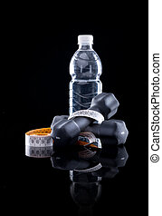 Fitness equipment - Water bottle, measure tape and dumbbells...