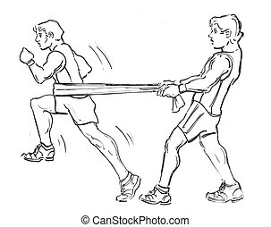 Fitness, exercise drawing. Resistance running, trainer assisted.