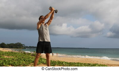 Fitness exercise - man doing Twisting Wood Chop Exercise ...