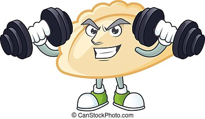 Fitness exercise pierogi mascot icon with barbells. Vector illustration