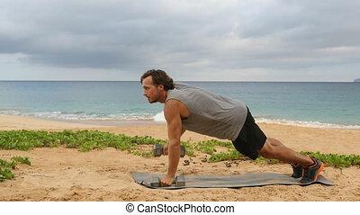 Fitness exercises Dumbbell Plank Row - fitness man doing ...