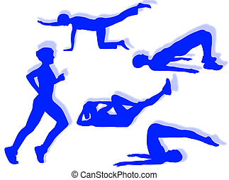 Fitness exercises - Woman in different poses as symbol of ...