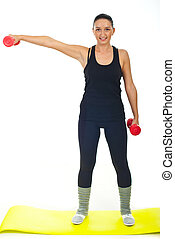 Fitness female with red barbell